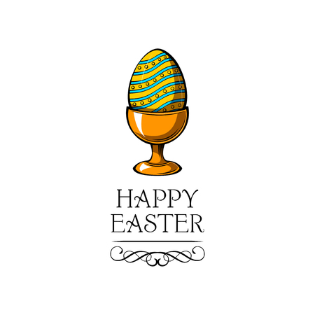 Easter Egg cup. Painted colorful egg. Egg holder. Happy Easter. Swirls, flourish, filigree elements Vector
