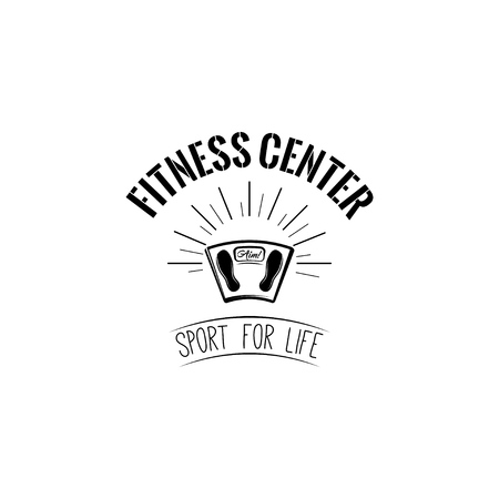 Weighing scale, fitness center icon. Sport for life lettering vector illustration.