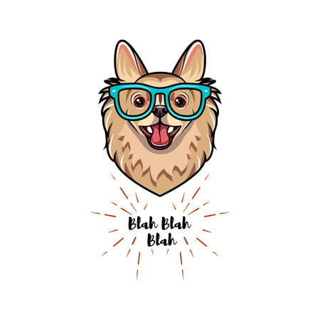 Chihuahua geek. Smart glasses. Clever dog. Dog breed Vector illustration