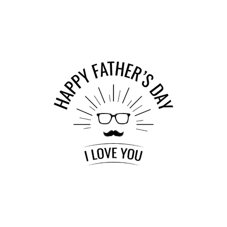Glasses mustache. Fathers Day greeting card. Mans accessories. Vector illustration. I love you lettering. Stock Illustratie