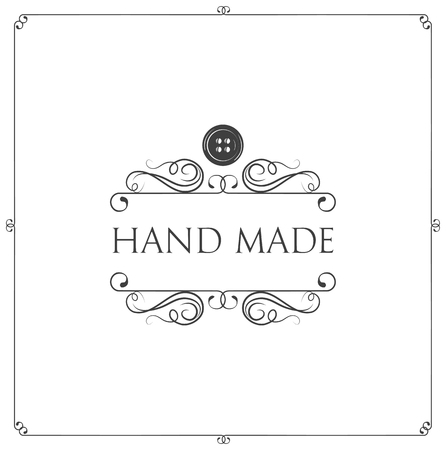 Hand made label. Button, swirls, filigree frame. Workshop emblem. Taylor logo with decoration. Vector illustration