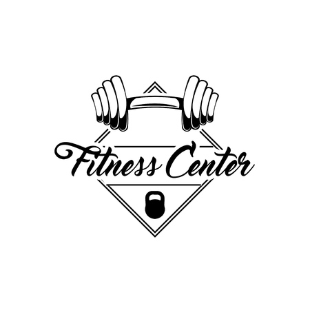 Barbell weights. Gym barbell. Fitness center logo label. Vector illustration. Sport Illustration