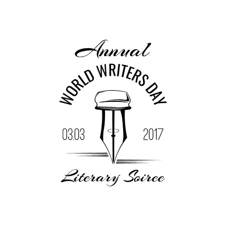 Feather Pen. World writers day logo label. Vintage pen. Vector illustration.