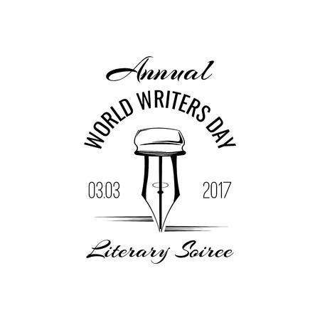 Feather Pen. World writers day logo label. Vintage pen. Vector illustration.
