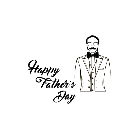 Father's day design with man wearing suit. Illustration