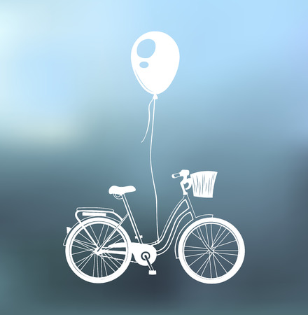 Bicycle, balloon, basket. Greeting card, postcard design. Vector illustration isolated on blue background