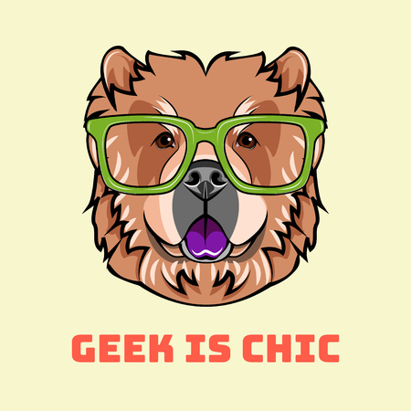 Chow chow geek. Smart glasses. Clever dog. Dog breed. Dog portrait. Vector illustration. Geek is chic inscription.