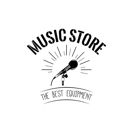 Microphone icon. Music store logo label. The best equipment text. Vector illustration. Microphone in beams badge. 向量圖像