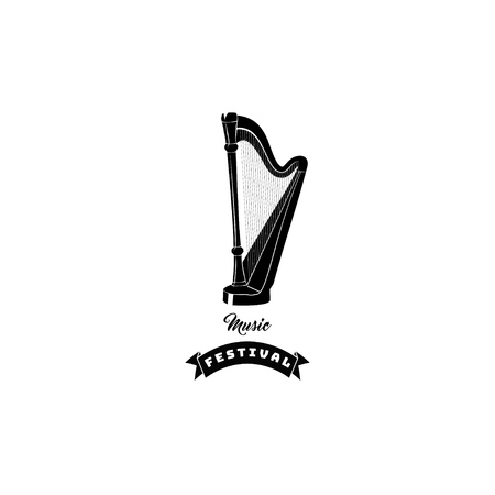 Harp icon. Music festival logo. Musical instrument. Music shop store. Vector illustration