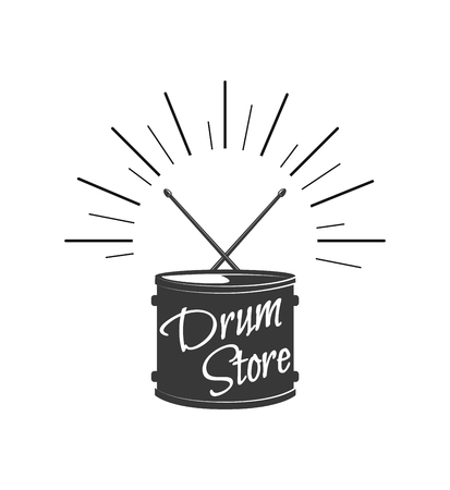Drum symbol, sticks. Musical instrument. Drum store shop logo label. Vector illustration