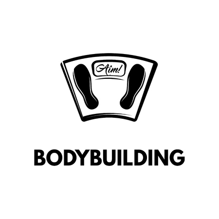 Bathroom floor scales icon. Bodybuilding badge logo label emblem. Vector illustration.