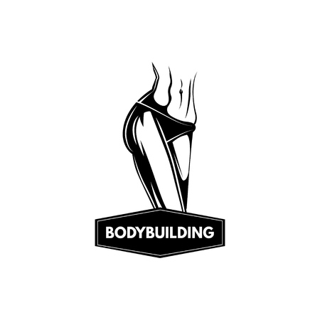 Sportive female body. Bodybuilding logo label. Fitness Sport badge. Vector illustration. Illustration