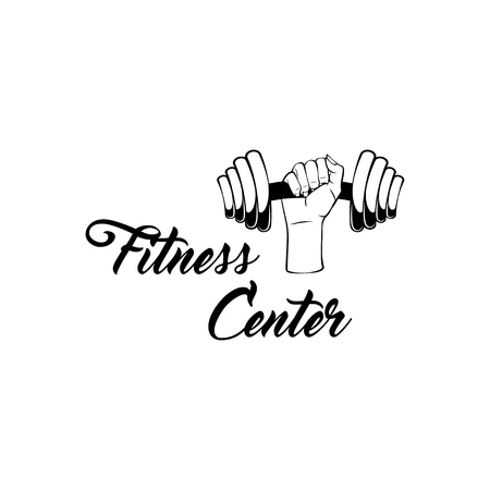 Dumbbell hand. fitness center logo label. Sport symbol. Vector illustration