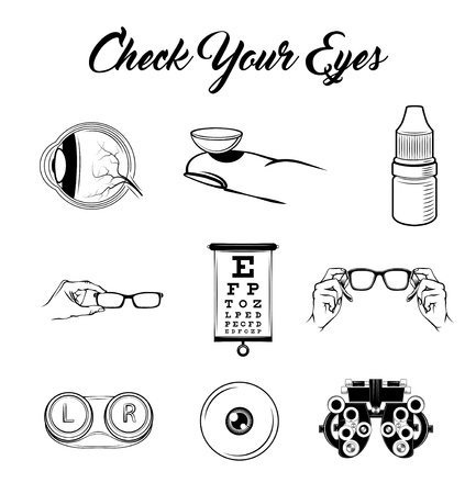 Eye, Lens, Glasses, Vision Test table. Eye examination. Optics set. ophthalmology icons set. Vector illustration Lens case, lens container 向量圖像
