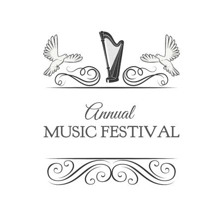 Harp, Doves. Music Festival logo label with swirls, ornate frames. Music instrument icon. Vector illustration. Illustration