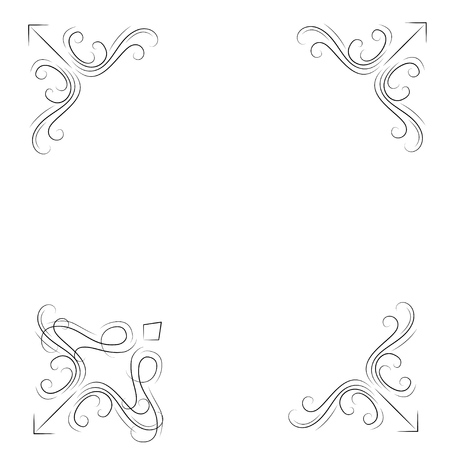 Decorative corners. Swirly filigree borders set. Ornate flourish corners. Vector illustration.