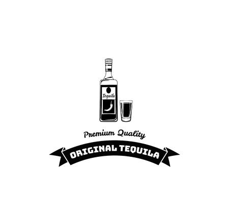 Tequila bottle, shot. Alcoholic beverage, Alcohol drink. Dar pub menu design. Vector illustration