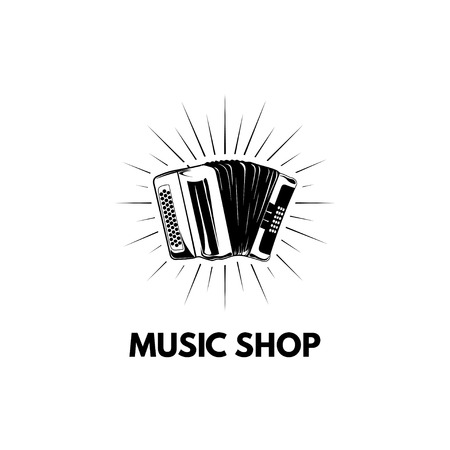 Accordion, Bayan. Music shop store logo label. Musical instrument. Vector illustration