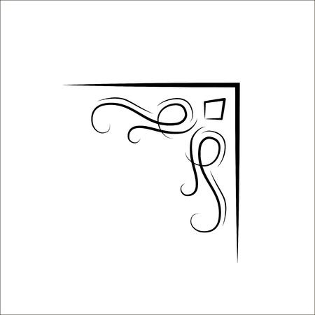 Ornamental filigree swirly corner. Vintage design element. Vector. Wedding invitation, page decoration, greeting card design.