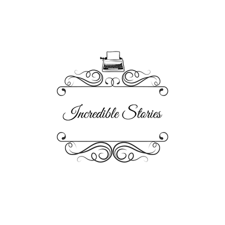 Incredible stories lettering with typewriter icon.