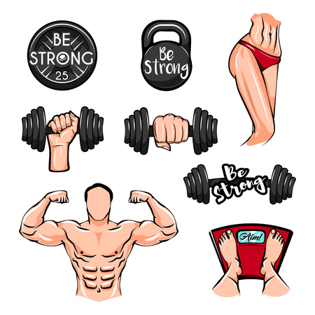 Dumbbells, Bodybuilder, Fitness body, Weigth Kettlebell. Fitness gym icons. Vector. Fitness center logo label emble. Be strong. Train Sport badges Vectores