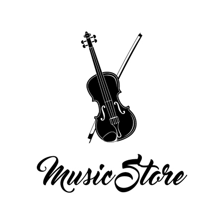 Violin icon. Music store logo. Musical instrument symbol. Vector illustration