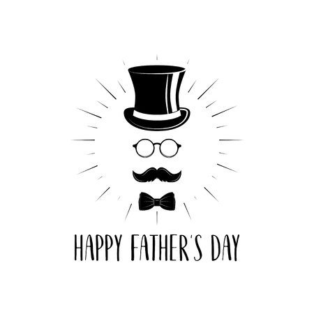 Bow tie, mustache, top hat, glasses vector illustration.