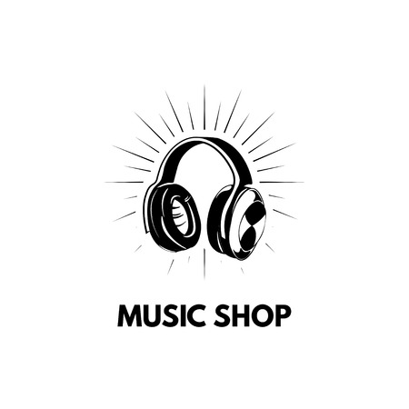 Headphone icon. Music shop store logo label. Music icon. Vector illustration.