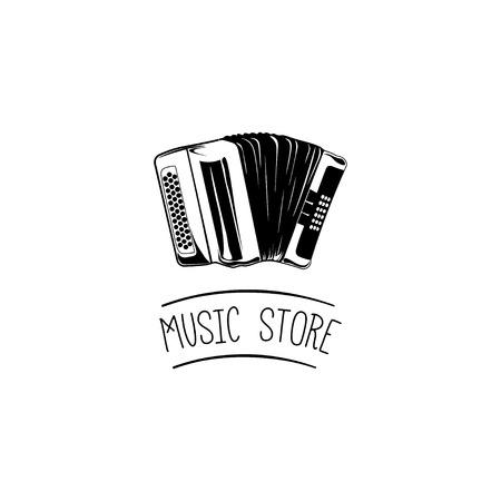 Accordion. Music store label design element. Vector illustration Stock Illustratie
