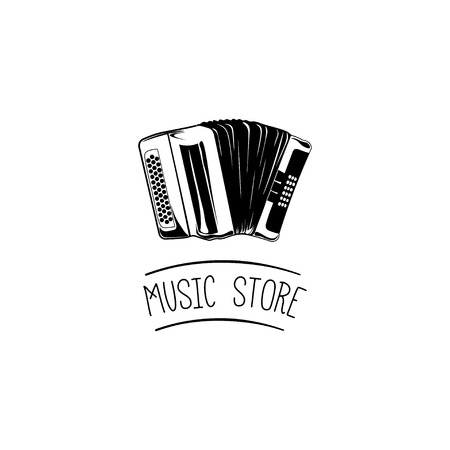 Accordion. Music store label design element. Vector illustration Illustration