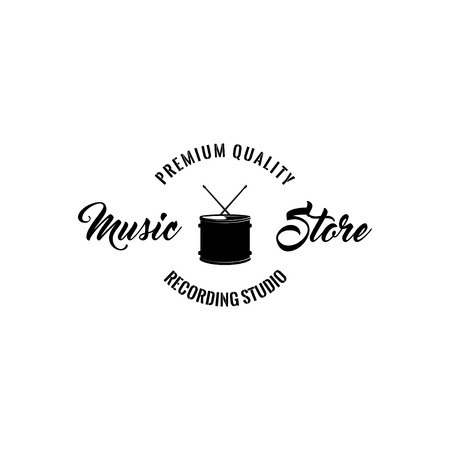 Drum icon. Music stire logo label. Premium quality inscription. Musical instrument. Vector illustration.