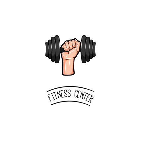 Dumbbell icon. Fitness center logo. Gym icon. Sport badge. Vector illustration