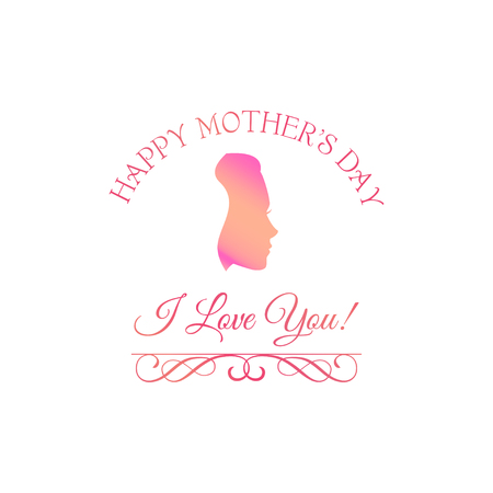 Womans face Silhouette. Mothers day design. I love you inscription. Vector illustration. Happy mothers day greeting card.