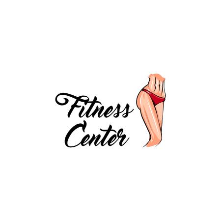 Womans athletic body. Fitness center logo label emblem. Sportsman. Vector illustration. Illustration