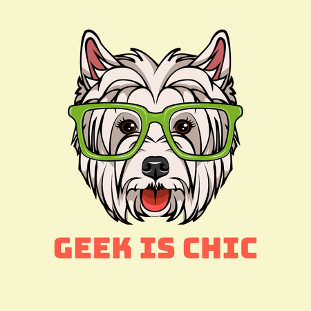 West Highland Terrier in Smart glasses.  Geek in chic text. Vector illustration.