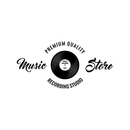 Retro vinyl disk. Music store icon label.