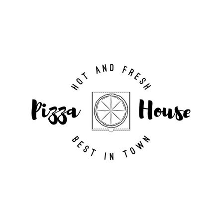 Pizza box icon. Pizza house, Pizzeria logo, Italian Pizza delivery. Vector illustration Banque d'images - 99052431
