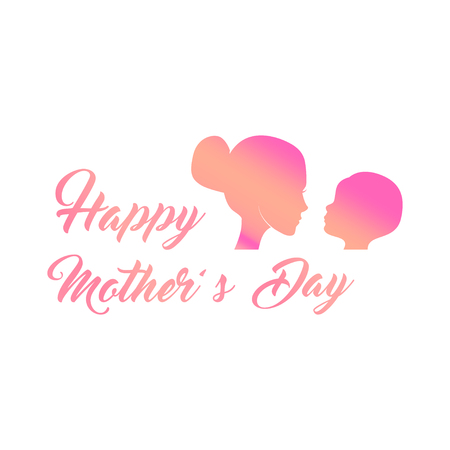 Silhouettes Mother and child. Mothers day greeting card. Vector illustration