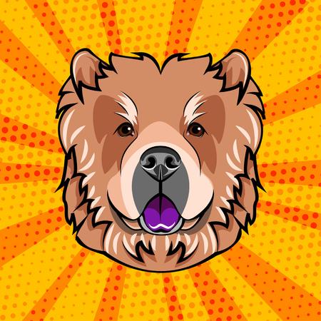 Dog chow chow face head muzzle vector illustration.