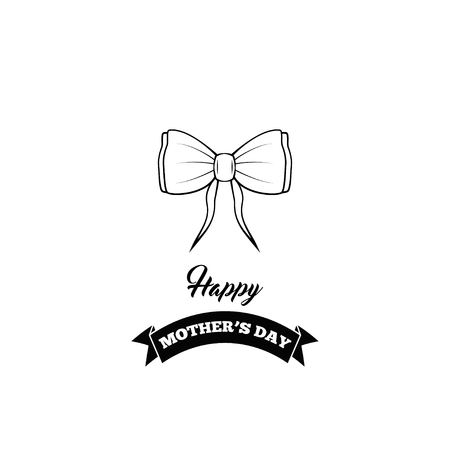 Bow icon. Happy Mothers Day. Bow, ribbons. Greeting card design Vector illustration