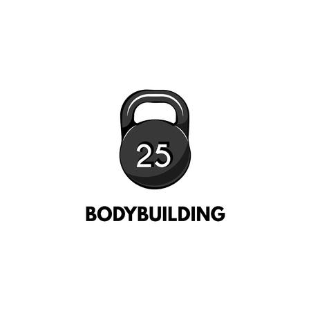 Kettlebell icon. Bodyduilding inscription. Sport badge. Fitness icon Vector illustration Illustration
