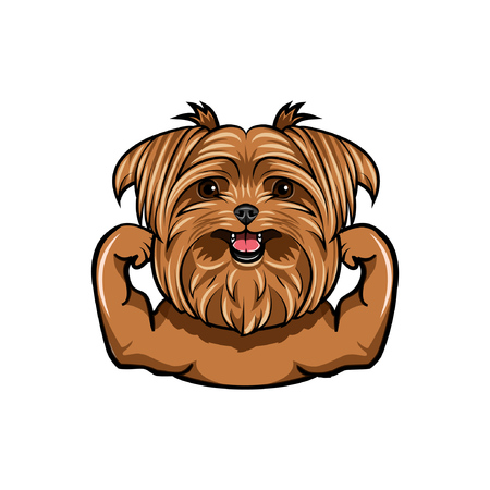 Griffon dog Muscle dog athlete. Sportsman dog portrait Dog breed Vector illustration