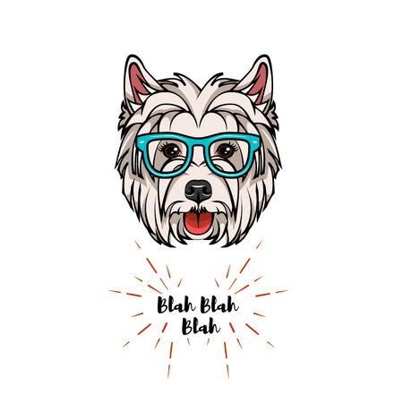 West Highland White Terrier geek. Smart glasses. Clever dog. Vector illustration. Çizim