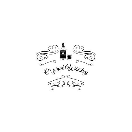 Whiskey Scotch bottle icon.  Vector illustration