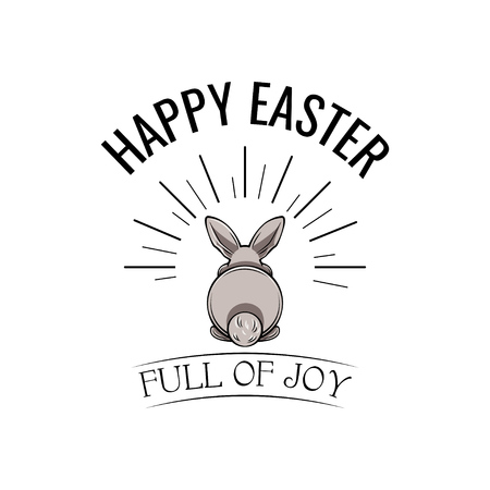 Easter rabbit, easter Bunny. Happy Easter holiday. Easter greeting card. Vector. Full of joy inscription.