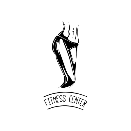 Athletic woman body. Fitness center logo label badge. Sports body. Vector.
