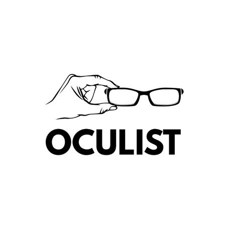 Glasses hand oculist emblem logo. Eyeglasses icon. Vector illustration Oculist lettering eyesight check