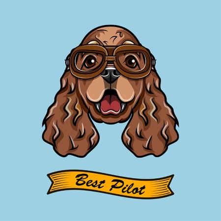 Cocker Spaniel Pilot. Dog Aviator. Dog breed. Spaniel head face. Vector illustration