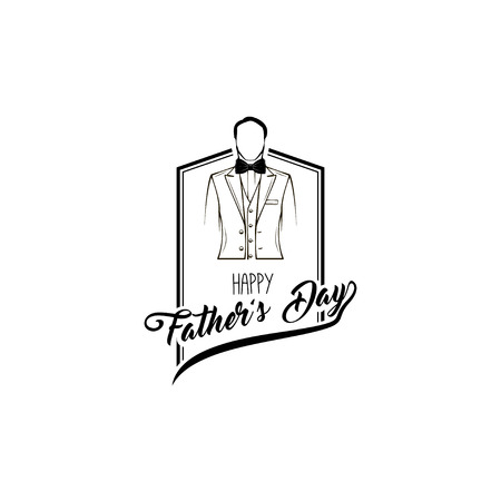 Man in elegant suit, Bow tie. Holiday card. Happy fathers day lettering. Vector illustration Иллюстрация