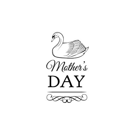 Happy mothers day card with swan. Ornate frame, filigree scroll divider. Vector illustration Illustration